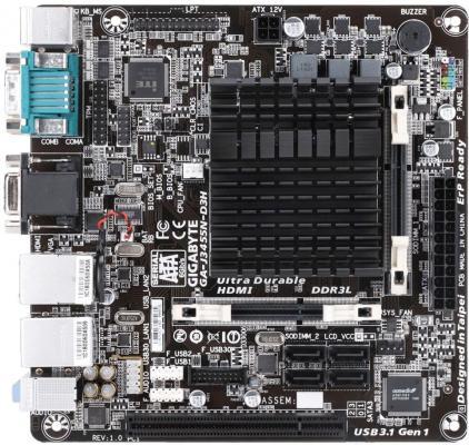 Мат. плата для ПК GigaByte GA-J3455N-D3H с процессором Intel J3455 2xSO-DIMM DDR3 1xPCI 4xSATAIII mini-ITX Retail