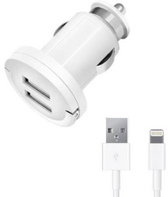 Автомобильное зарядное устройство Deppa 11256 2 х USB 8-pin Lightning 3.4 (1+2.4)A белый зарядное устройство soalr 16800mah usb ipad iphone samsug usb dc 5v computure