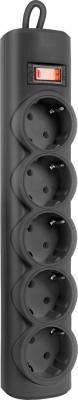 Сетевой фильтр Defender RFS 18 черный 5 розеток 1.8 м 99514