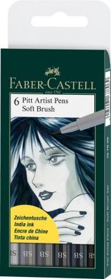 Набор капиллярных ручек капилярный Faber-Castell Castell 167806 6 шт оттенки серого
