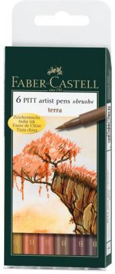 Набор капиллярных ручек капилярный Faber-Castell Castell 167106 6 шт земляные оттенки B