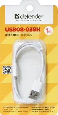 Кабель microUSB 1м Defender USB08-03BH круглый белый 87477 кабель microusb 1м defender usb08 03bh круглый 87476