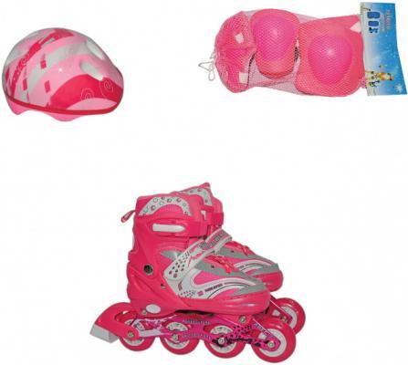 Коньки роликовые Navigator колёса ПВХ, в комплекте с защитой и шлемом, переднее колесо со светом, L (38-41), роз. роликовые коньки cliff cs 791 l 39 42 blue