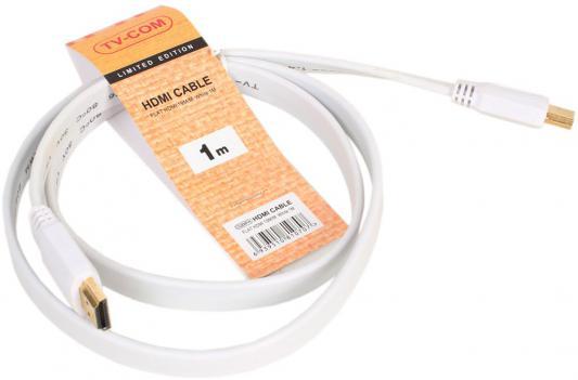 Кабель HDMI 1.0м VCOM Telecom плоский белый CG200FW-1M кабель hdmi 1 0м vcom telecom плоский белый cg200fw 1m