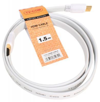 Кабель HDMI 1.5м VCOM Telecom плоский белый CG200FW-1.5M