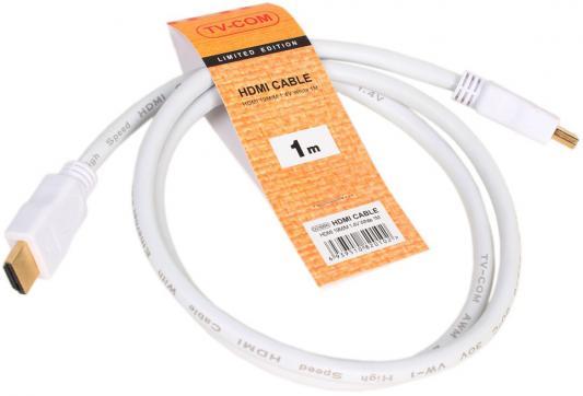 Кабель HDMI 1.0м VCOM Telecom V1.4+3D белый CG150SW-1M кабель hdmi vcom cg525r 1m cg525r 1m