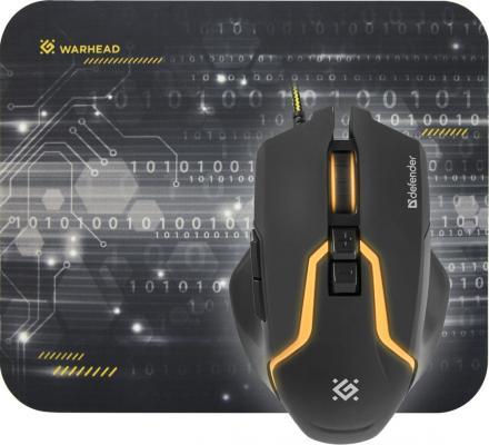 Мышь проводная Defender Warhead MP-1400 + коврик чёрный жёлтый USB