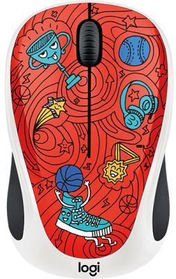 Мышь беспроводная Logitech M238 Doodle Collection красный рисунок USB 910-005054 мышь проводная logitech m105 красный usb 910 002945