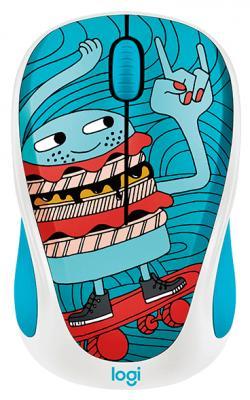 Мышь беспроводная Logitech M238 Doodle Collection синий рисунок USB 910-005052 мышь logitech m238 doodle collection skateburger