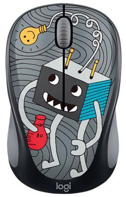 все цены на Мышь беспроводная Logitech M238 Doodle Collection чёрный рисунок USB 910-005049 онлайн