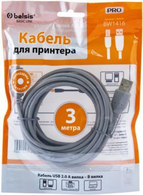 Кабель USB 2.0 AM-BM Belsis 3м без ф/фильтра BW1416 кабель usb 2 0 am bm 1 8m 1 кольцо belsis bw1411