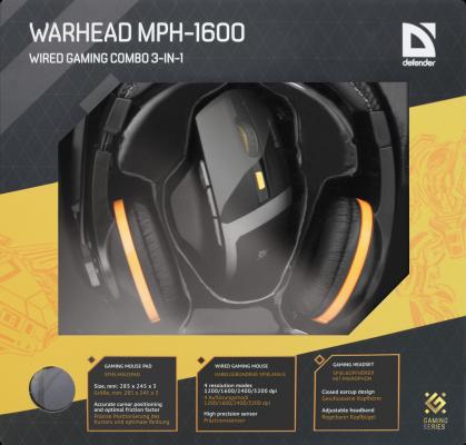 купить Комплект Defender Warhead MPH-1600 мышь+гарнитура+коврик чёрный USB 52706