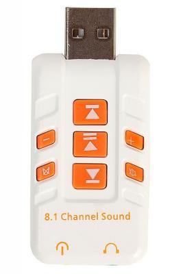 Переходник USB - 2 x jack 3.5 mm Orient AU-01PLW 30329 переходник usb jack 3 5 mm orient au 02w 30215