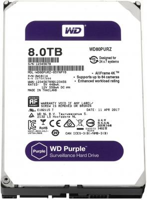Жесткий диск 3.5 8 Tb 5400rpm 128Mb cache Western Digital Purple SATAIII WD80PURZ