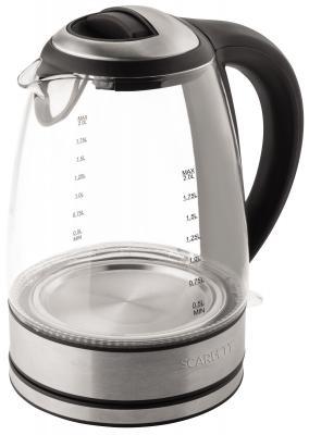 Чайник Scarlett SC-EK27G18 2200 Вт чёрный серебристый 2 л пластик/стекло чайник scarlett sc ek21s48 2000 вт серебристый 1 8 л нержавеющая сталь