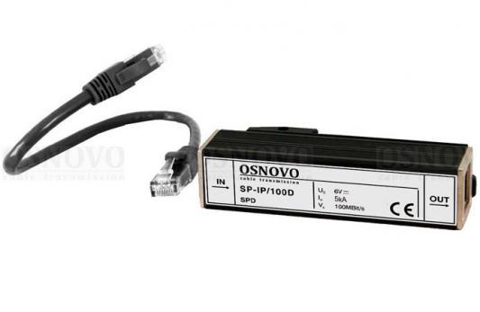 Устройство грозозащиты OSNOVO SP-IP/100D для локальной вычислительной сети скорость до 100 Мб/сек 1 вход RJ45-мама/1 выход RJ45-мама