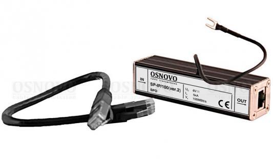 Устройство грозозащиты OSNOVO SP-IP/100(ver.2) для локальной вычислительной сети скорость до 100 Мб/сек 1 вход RJ45-мама/1 выход RJ45-мама