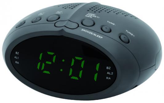 Часы с радиоприёмником Supra SA-25FM чёрный зелёный