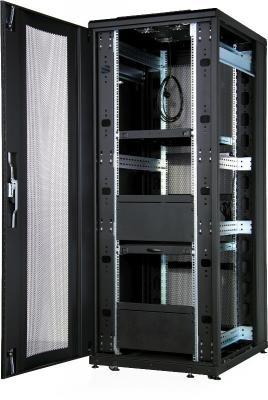 """Шкаф напольный 19"""" 26U Estap CLD70626U6010BF1R1 600x1000mm передняя дверь одностворчатая перфорированная задняя дверь двустворчатая перфорированная черный"""