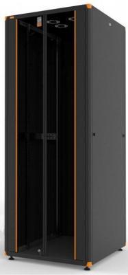 """Шкаф напольный 19"""" 42U Estap Evoline EVL70142U8080BF1R2 800x800mm передняя дверь двустворчатое стекло с металлической рамой слева и справа задняя дверь двустворчатая металлическая черный"""