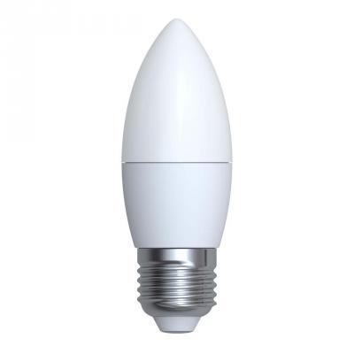 Лампа светодиодная (UL-00001066) E27 6W 3000K свеча матовая LED-C37-6W/WW/E27/FR/O uniel лампа светодиодная 08137 e14 6w 3000k свеча на ветру матовая led cw37 6w ww e14 fr alm01wh