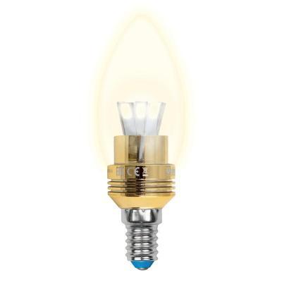 Лампа светодиодная свеча Uniel LED-C37P-5W/WW/E14/CL ALC02GD (10057) E14 5W 3000K лампа светодиодная диммируемая 08747 e14 5w 3000k свеча матовая led c37p 5w ww e14 fr dim