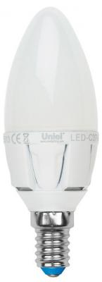 Лампа светодиодная диммируемая (UL-00000690) E14 6W 3000K свеча матовая LED-C37-6W/WW/E14/FR/DIM uniel лампа светодиодная 07889 e14 6w 4500k свеча матовая led c37 6w nw e14 fr alp01wh
