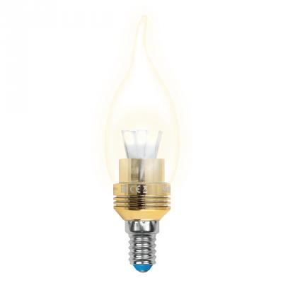 Лампа светодиодная (10059) E14 5W 3000K свеча на ветру прозрачная LED-CW37P-5W/WW/E14/CL ALC02GD лампочка in home led свеча на ветру deco 5w 3000k 230v 450lm e14 clear 4690612007625
