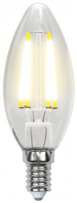 Лампа светодиодная свеча Uniel Sky E14 6W 3000K (UL-00000199) LED-C35-6W/WW/E14/CL PLS02WH лампа светодиодная ul 00000200 e14 6w 3000k свеча на ветру прозрачная led cw35 6w ww e14 cl pls02w