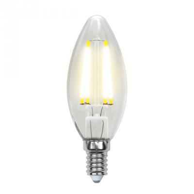 Лампа светодиодная (UL-00001373) E14 6W 4000K свеча прозрачная LED-C35-6W/NW/E14/CL PLS02WH лампа светодиодная uniel led c35 6w ww e14 fr pls02wh 10шт