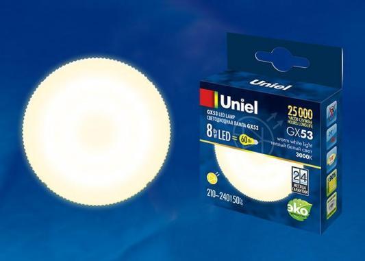 Лампа светодиодная таблетка Uniel UL-00001672 GX53 8W 3000K LED-GX53-8W/WW/GX53/FR PLZ01WH лампа светодиодная ul 00001669 gx53 6w 4000k таблетка матовая led gx53 6w nw gx53 fr plz01wh