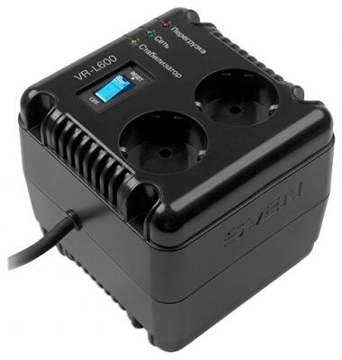 Стабилизатор напряжения Sven VR-L600 черный 2 розетки SV-014865 колонки sven 170 черный белый [sv 013523]