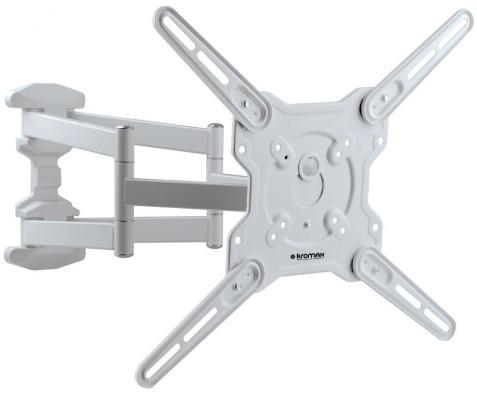 Кронштейн Kromax Optima-407W белый 22-65 настенный от стены 55-470мм наклон +5°/-15° VESA 400х400мм до 45кг кронштейн наклонный kromax star 60 17 45 до 45кг vesa до 300x300