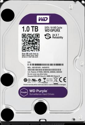 Жесткий диск 3.5 1Tb 5400rpm 64Mb cache Western Digital Purple SATAIII WD10PURZ 2000gb western digital wd20ezrz 64mb 5400rpm sata3 blue desktop