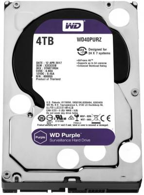 Жесткий диск 3.5 4 Tb 5400rpm 64Mb cache Western Digital Purple SATAIII WD40PURZ жесткий диск 4tb western digital purple wd40purz