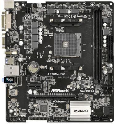 Мат. плата для ПК ASRock A320M-HDV Socket AM4 AMD A320 2xDDR4 1xPCI-E 16x 3xPCI 1xPCI-E 1x 4xSATAIII mATX Retail