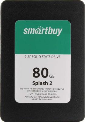 Твердотельный накопитель SSD 2.5 80GB Smartbuy Splash 2 Read 470Mb/s Write 330Mb/s SATAIII SB080GB-SPLH2-25SAT3 твердотельный накопитель ssd m 2 64gb transcend mts600 read 560mb s write 310mb s sataiii ts64gmts600