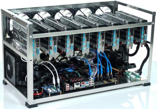 Персональный компьютер / ферма Inno3D GeForce GTX 1080 GAMING x6 / H81 PRO BTC / Intel Celeron G1840 2.8GHz / DDR3 4Gb PC3-12800 1600MHz /SSD 120Gb/ATX 700Вт x3