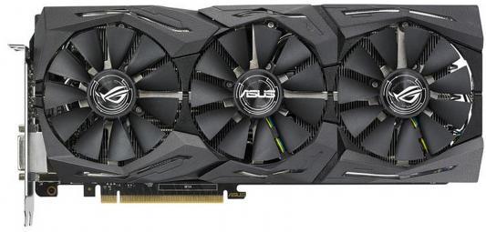 Видеокарта 8192Mb ASUS GeForce GTX1080 STRIX PCI-E 256bit GDDR5X DVI HDMI DP ROG-STRIX-GTX1080-O8G-11GBPS Retail asus radeon rx 460 1200mhz pci e 3 0 4096mb 7000mhz 128bit dvi hdmi dp hdcp strix rx460 4g gaming