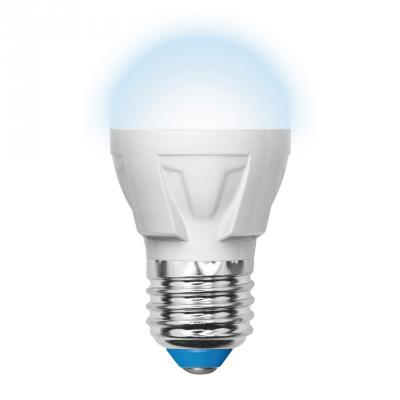 Лампа светодиодная шар Uniel UL-00000693 E27 6W 4500K LED-G45-6W/NW/E27/FR/DIM PLP01WH uniel лампа светодиодная диммируемая 08689 e27 6w 4500k свеча матовая led c37 6w nw e27 fr dim