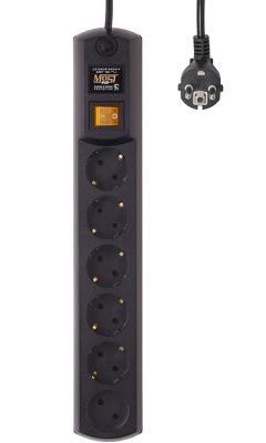 Сетевой фильтр MOST hp 2м чер черный 6 розеток 2 м raindrops 42825