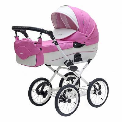 Коляска 2-в-1 Riko Bruno Ecco Prestige (18 розовый-белый) коляска 2 в 1 riko bruno ecco prestige 14 бежевый
