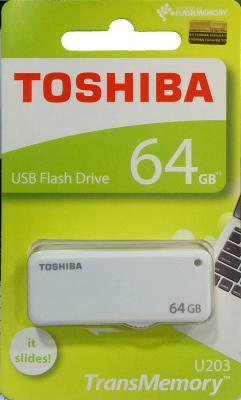Флешка USB 64Gb Toshiba U-Drive U203 THN-U203W0640E4 белый toshiba transmemory mx usb 3 0 flash drive disk black grey 64gb read speed 70mb sec