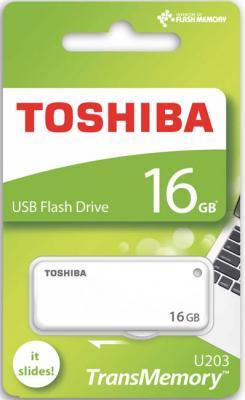 Флешка USB 16Gb Toshiba U-Drive U203 THN-U203W0160E4 белый toshiba transmemory mx usb 3 0 flash drive disk black grey 16gb read speed 70mb sec