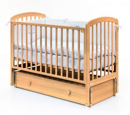 Купить Кровать с маятником на колесах Fiorellino Tina (natur), натуральный, бук, Кроватки с маятником