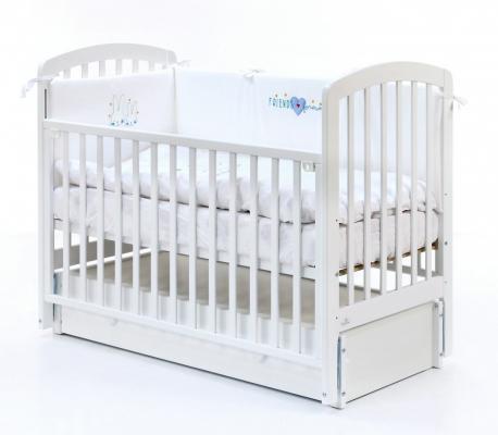 Купить Кровать с маятником на колесах Fiorellino Tina (white), белый, бук, Кроватки с маятником