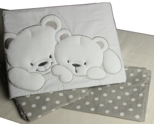 Сменный комплект постельного белья 3 предмета 125х65см Lepre Sweet Bears (цвет 23 серый-горох) матрас в кроватку 125х65см lepre sogni d
