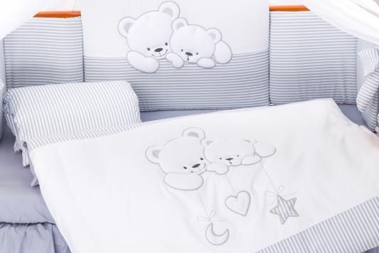 Постельный сет 6 предметов 125х65см Lepre Bears (цвет21 серый полоска) матрас в кроватку 125х65см lepre sogni d
