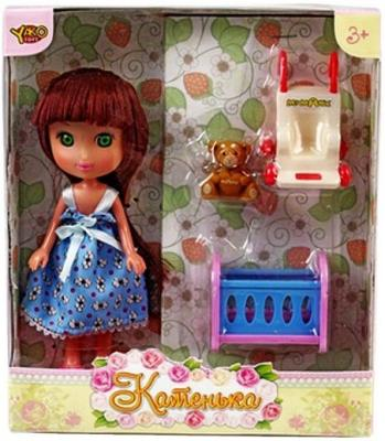 Кукла Shantou Gepai Катенька c набором мебели Кроватка и коляска 16.5 см M6614