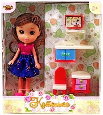 """Кукла Shantou Gepai Катенька c набором мебели """"Компьютерный стол"""" 16.5 см M6611"""